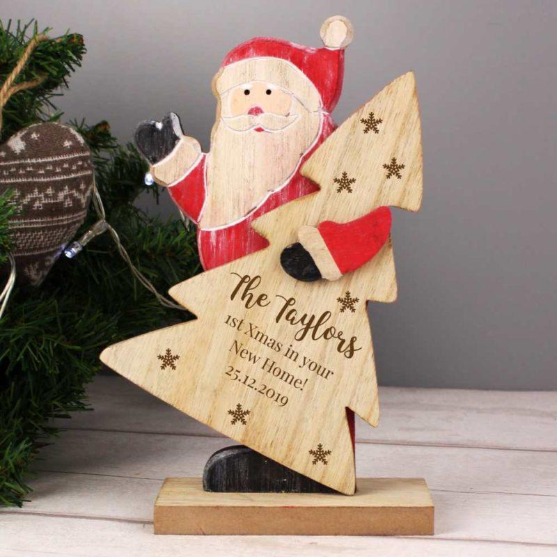Personalised 'Snowflake' Wooden Santa Decoration