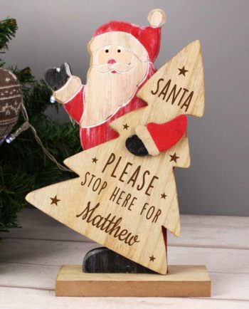Personalised 'Santa Please Stop Here' Wooden Santa Decoration