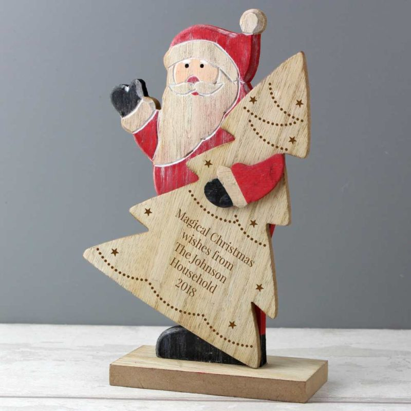Personalised 'Jolly Santa' Wooden Decoration