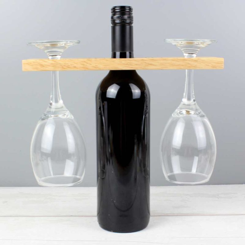 Personalised 'Mr & Mrs' Wine Glass & Bottle Butler