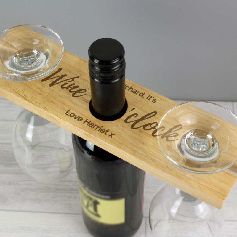 Personalised 'Wine O'clock' Wine Glass & Bottle Butler