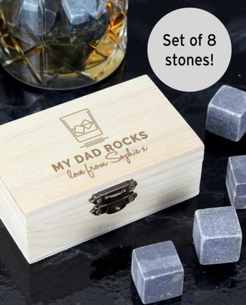 Whisky Stones in Personalised Wooden Box
