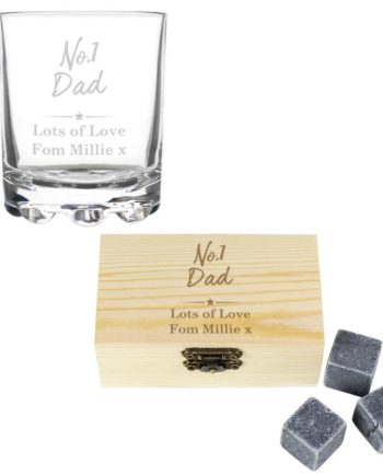 Personalised No.1 Whisky Stones and Glass Set