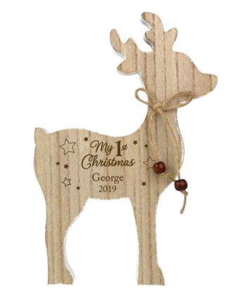 Personalised '1st Christmas' Rustic Wooden Reindeer Decoration