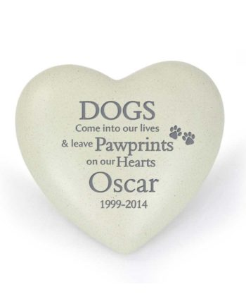 Personalised Dog 'Pawprints' Heart Memorial