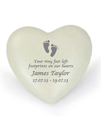 Personalised Tiny Footprints Heart Memorial