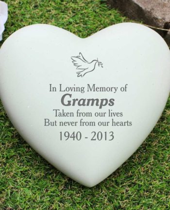 Personalised White Dove Heart Memorial