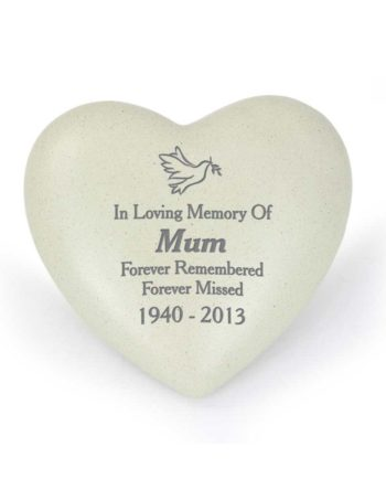 Personalised White Dove Heart Memorial