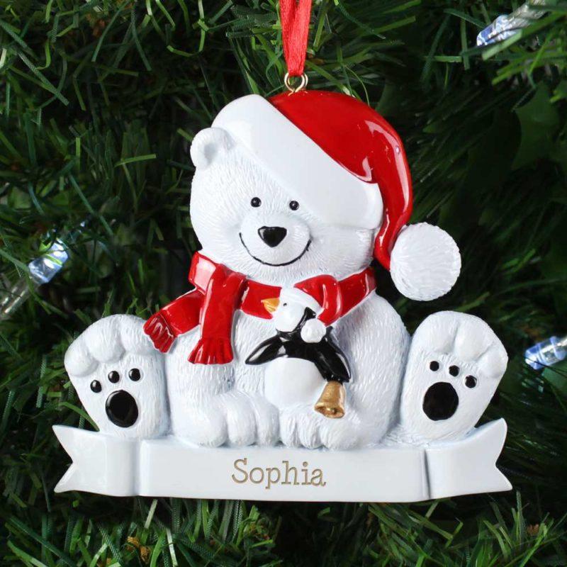 Personalised 'Festive Polar Bear' Tree Decoration