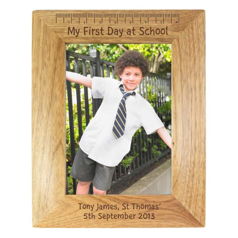 Personalised 'My First Day at School' 7x5 Wooden Photo Frame