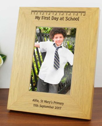 Personalised 'My First Day At School' Oak Finish 6x4 Photo Frame