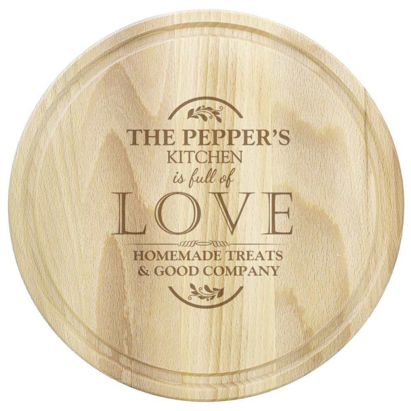 Personalised 'Full of Love' Large Round Chopping Board