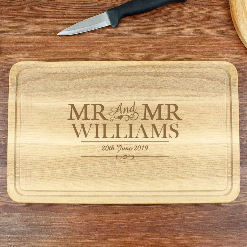 Personalised Mr & Mr Large Wooden Chopping Board