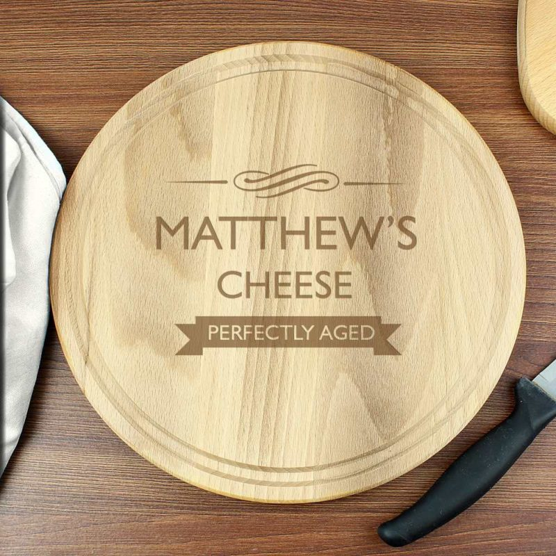 Personalised 'Perfectly Aged' Round Wooden Chopping Board