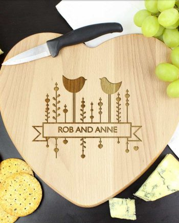 Personalised Decorative Bird Heart Chopping Board