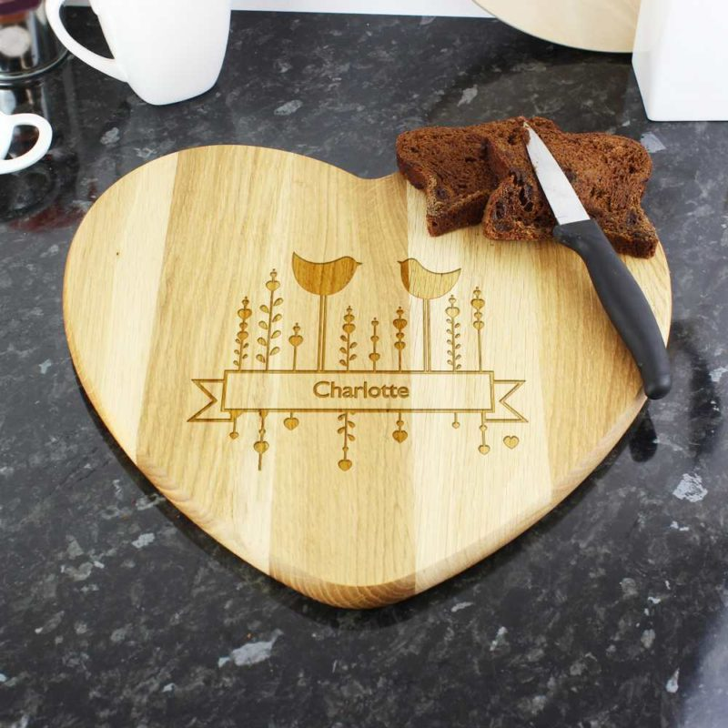 Personalised 'Decorative Bird' Heart Chopping Board