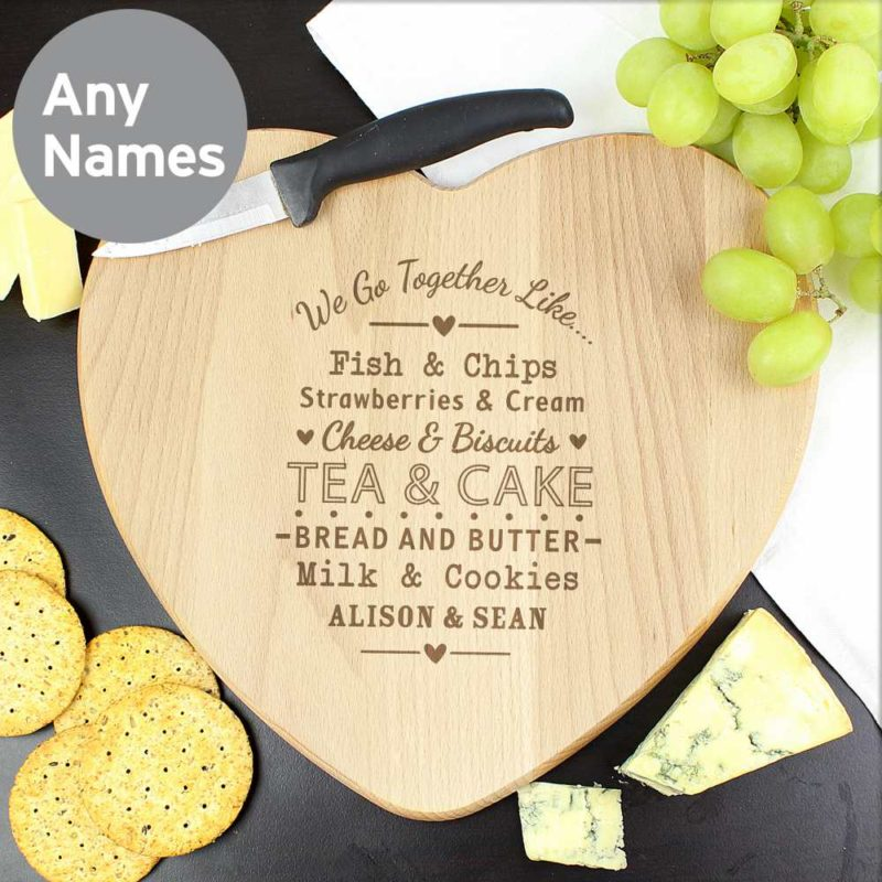 Personalised We Go Together Like....Heart Chopping Board