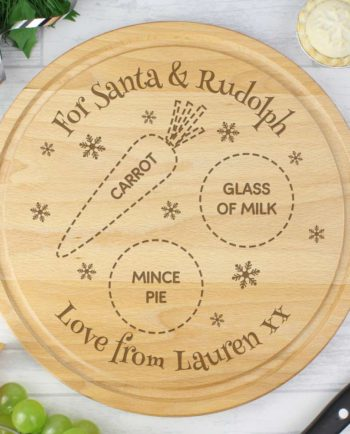 Personalised Christmas Eve 'For Santa and Rudolph' Wooden Board/Plate