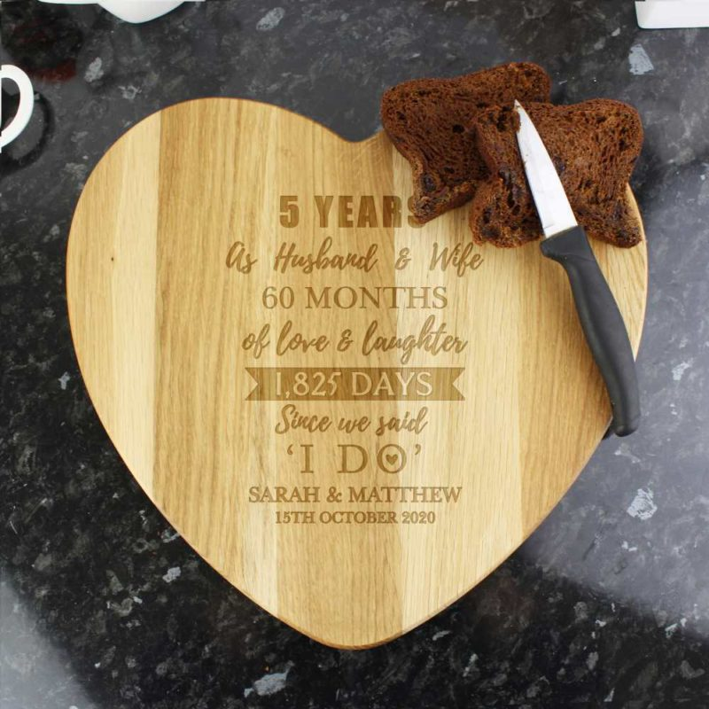 Personalised '5th Anniversary' Heart Chopping Board