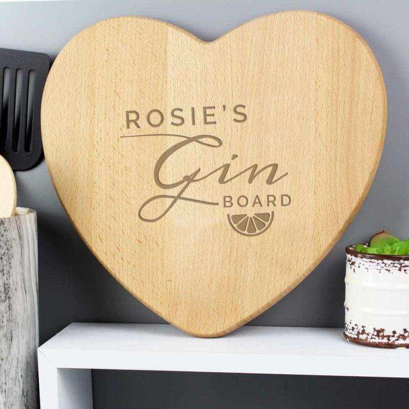 Personalised 'Gin' Heart Chopping Board
