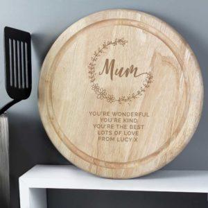 Personalised Mum Round Wooden Chopping Heart