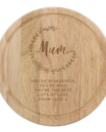 Personalised Mum Round Wooden Chopping Heart