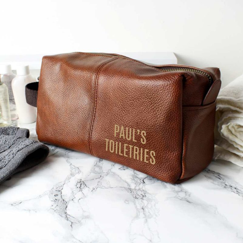 Personalised Brown Leatherette Wash Bag