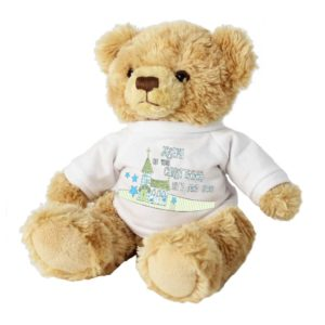 Personalised Blue Church and Stars Teddy Bear