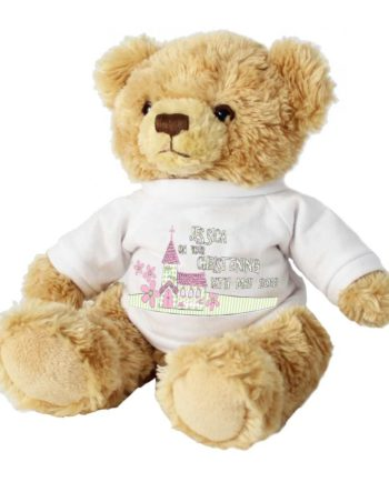 Personalised Pink Church and Flowers Teddy Bear
