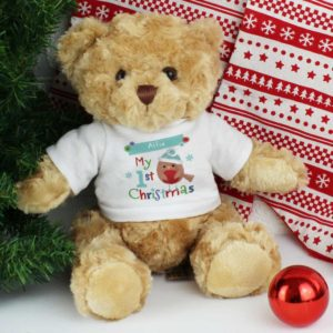Personalised Felt Stitch Robin 'My 1st Christmas' Teddy Bear