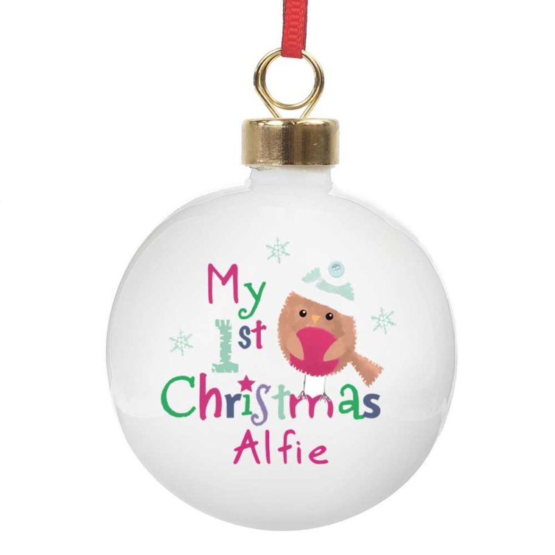 Personalised Festive Robin 'My 1st Christmas' Bauble