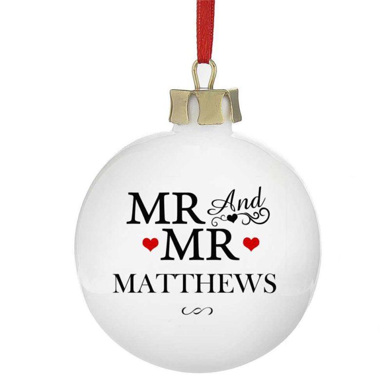 Personalised 'Mr & Mr' Christmas Tree Bauble