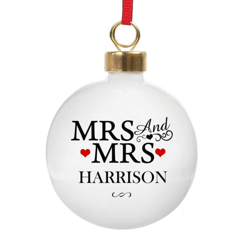 Personalised 'Mrs & Mrs' Christmas Tree Bauble