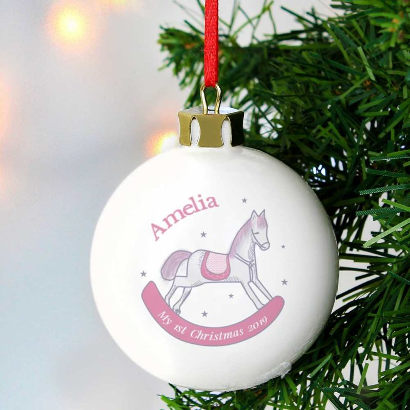 Personalised '1st Christmas' Pink Rocking Horse Bauble