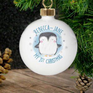 Personalised 1st Christmas Pengiun Bauble