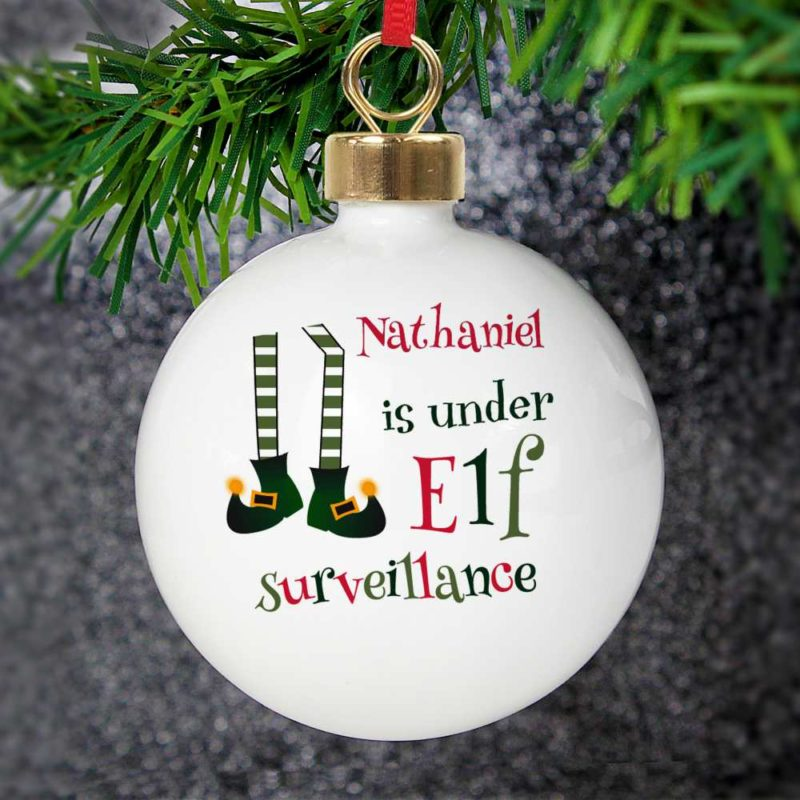 Personalised 'Elf Surveillance' Christmas Bauble