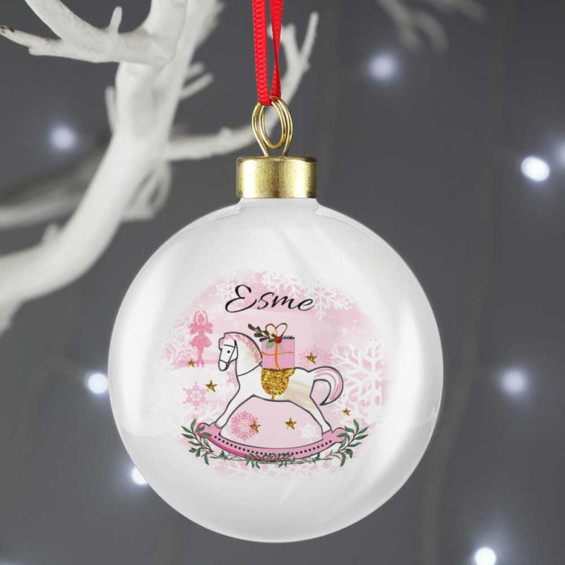 Personalised Pink Rocking Horse Bauble