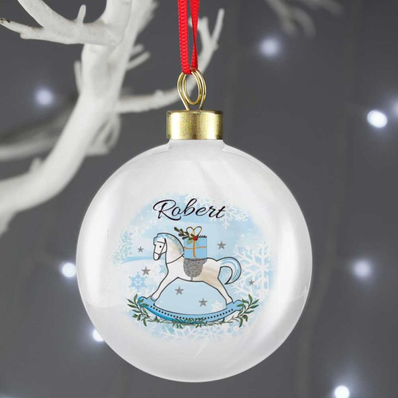 Personalised Blue Rocking Horse Bauble