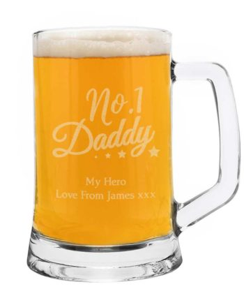 Personalised No.1 Daddy Glass Pint Stern Tankard