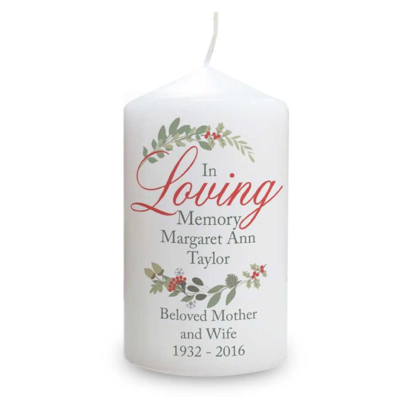 Personalised 'In Loving Memory' Wreath Candle