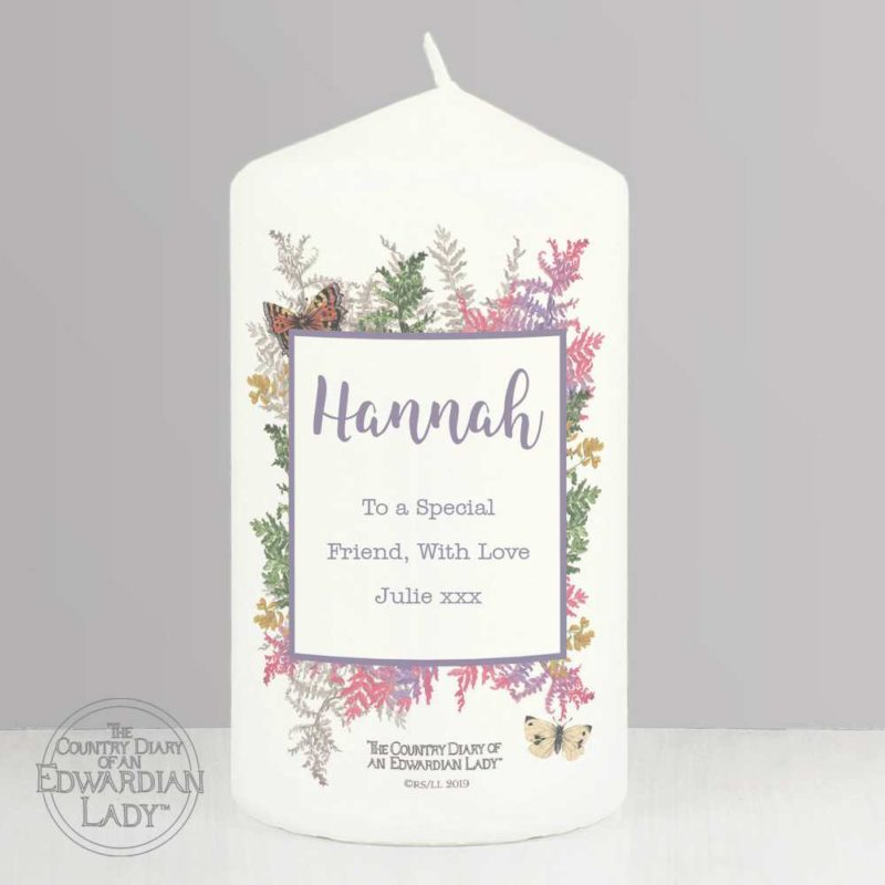 Personalised 'Country Diary' Botanical Pillar Candle