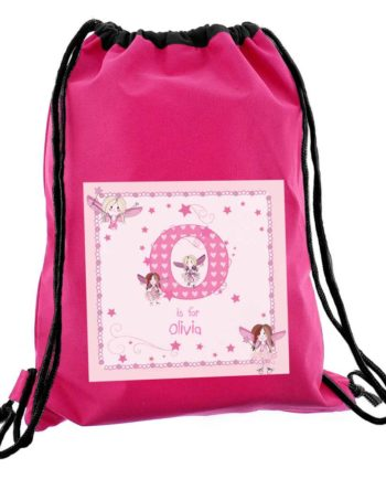 Personalised Initial Fairy Hot Pink P.E Kit Bag