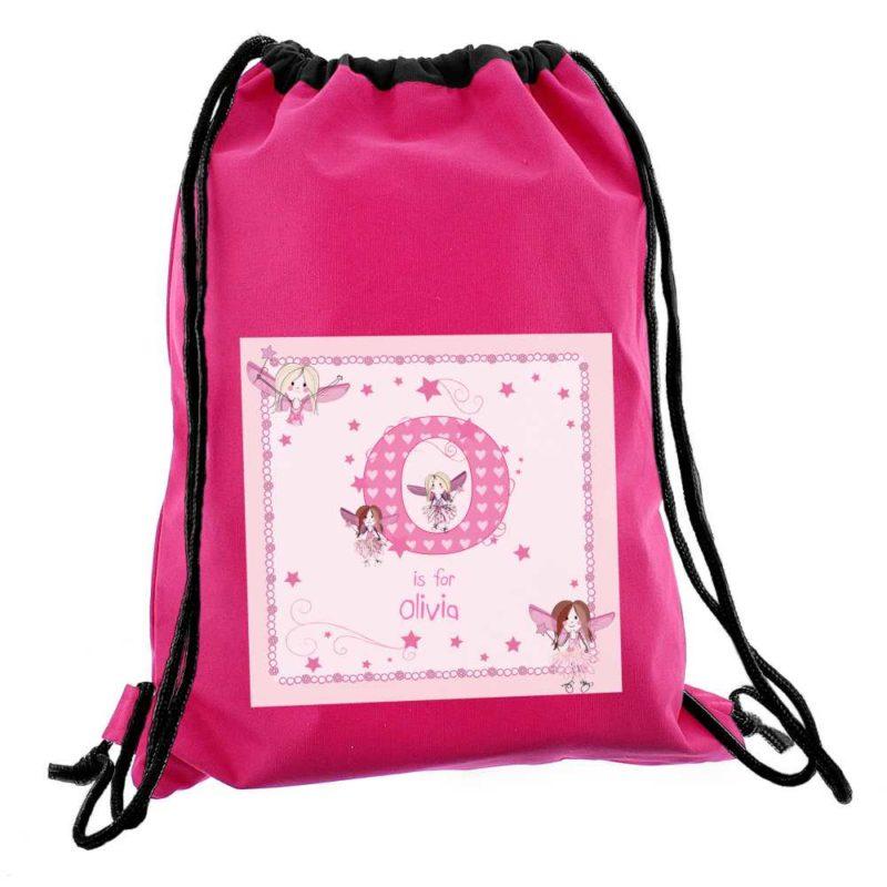 Personalised Initial Fairy Hot Pink P.E Kit Bag