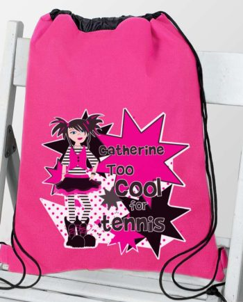 Personalised Girls 'Too Cool For' Hot Pink P.E Kit Bag