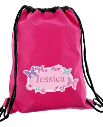 Personalised Hot Pink Butterfly P.E Kit Bag