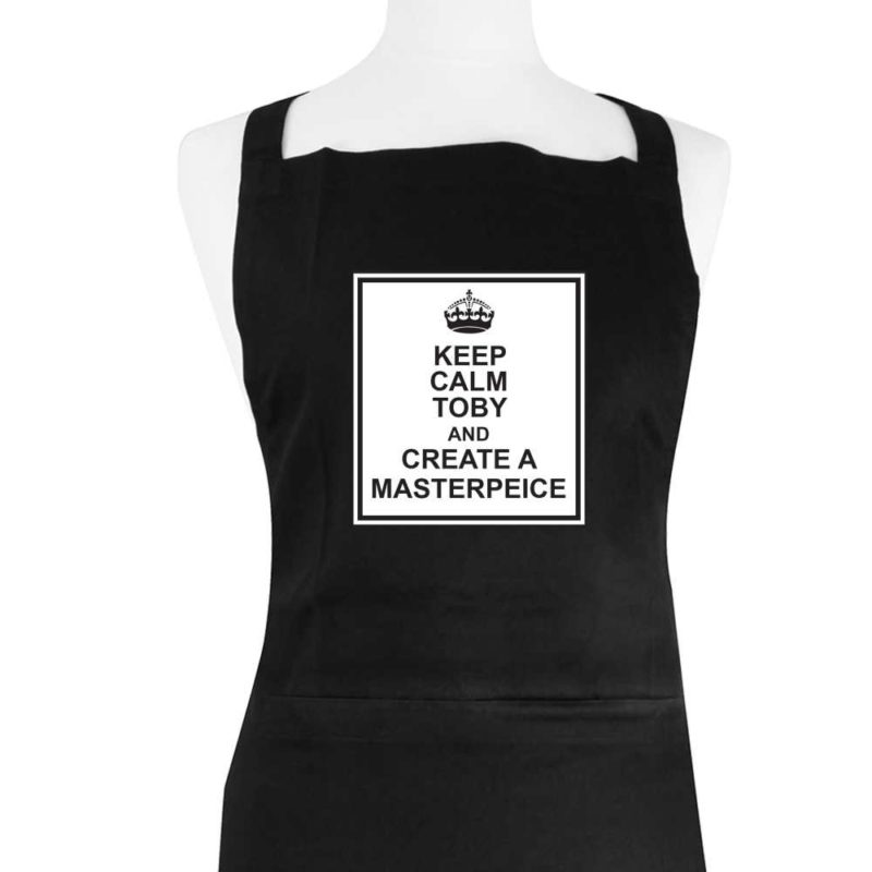 Personalised 'Keep Calm' Black Apron