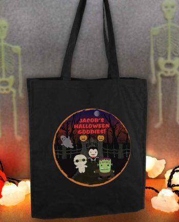 Personalised 'Spooky' Halloween Black Cotton Tote Bag