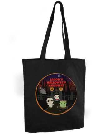 Personalised 'Spooky' Halloween Black Cotton Tote Bag