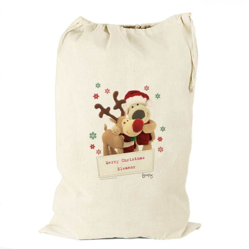 Personalised Boofle 'Christmas Reindeer' Cotton Present Sack