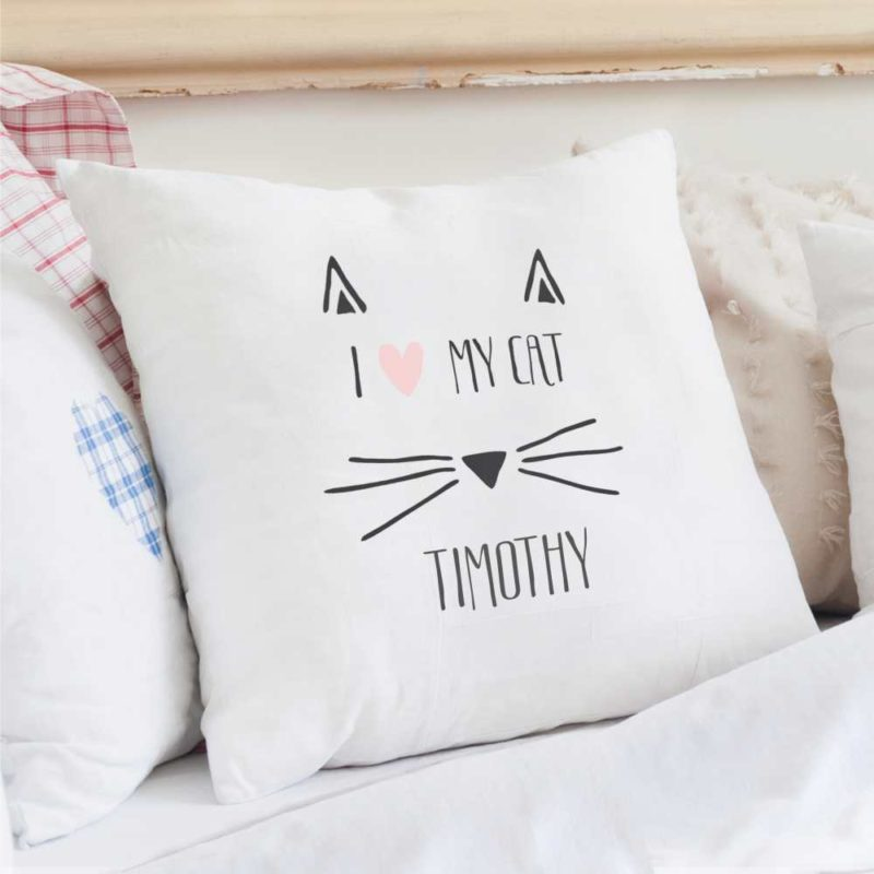 Personalised 'I Love My Cat' Cushion Cover